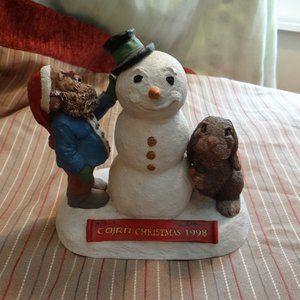 Cairn Christmas 1998 Figurine Signed Snowman Santa